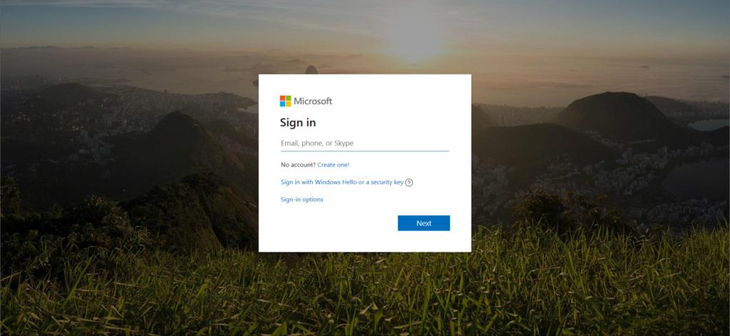 Microsoft account login panel
