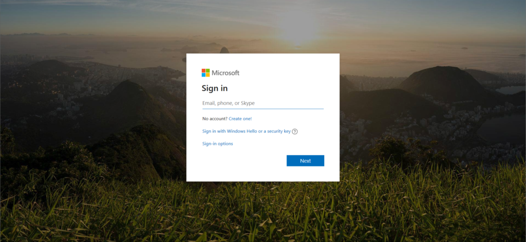 Logging into Microsoft account.