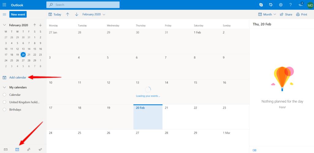 Adding an external calendar to Outlook.