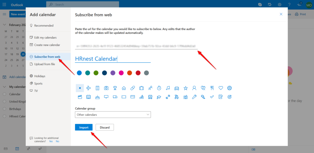 Import external calendar in outlook.
