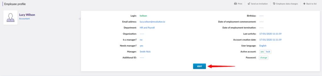Editing employee profile and adding organization.