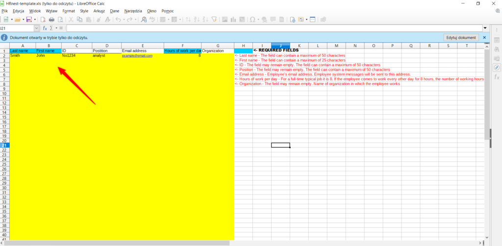 Filling out the template with employee data.
