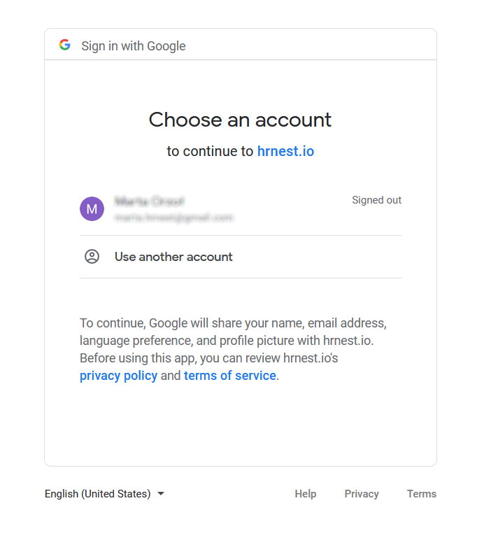 Loging to google account,