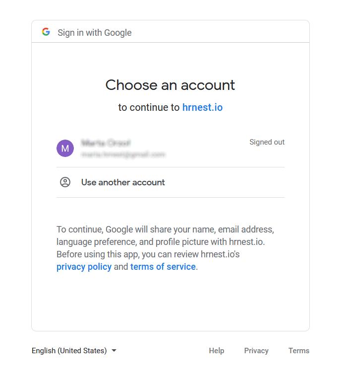Loging via google account.