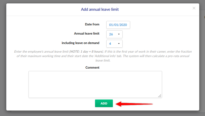 Setting holiday leave limit.
