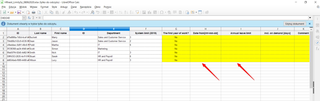 Filling the excel temlate.