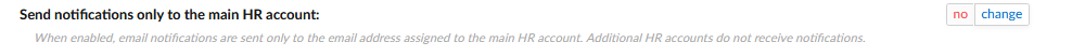 Notify setting only for the main HR account.