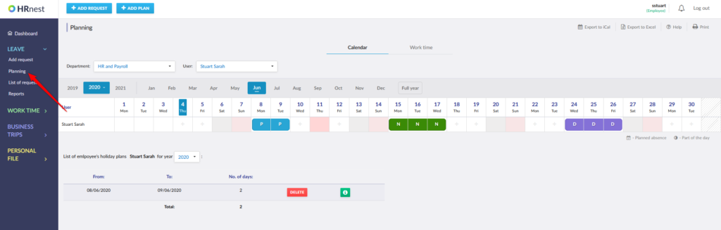Entry to the Planning section and view of the calendar on a monthly basis.