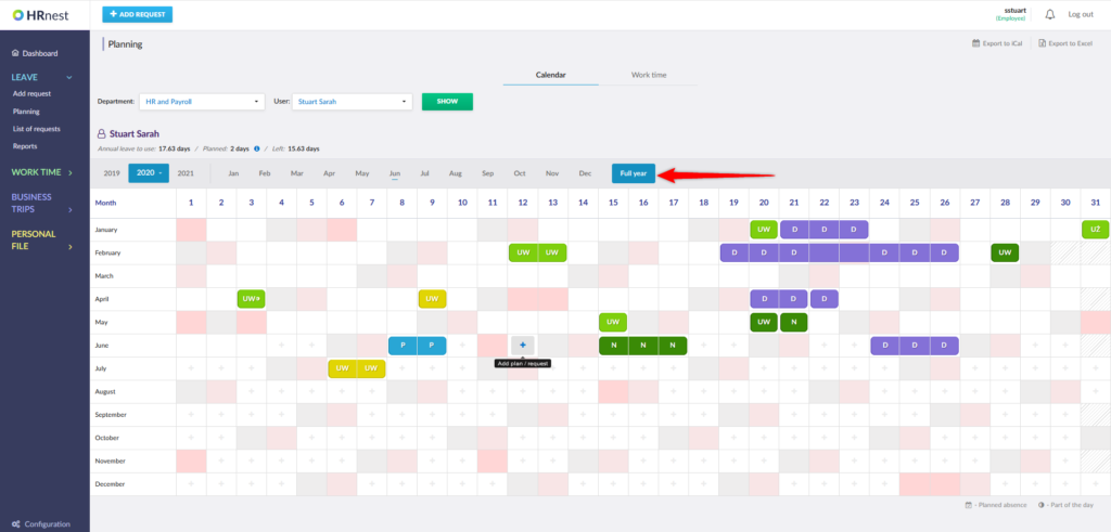 Entering the Planning tab and the annual view of the calender.