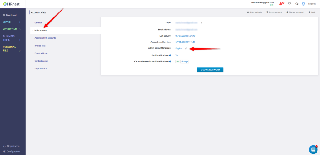 Entering account settings and changing the language in the admin account.