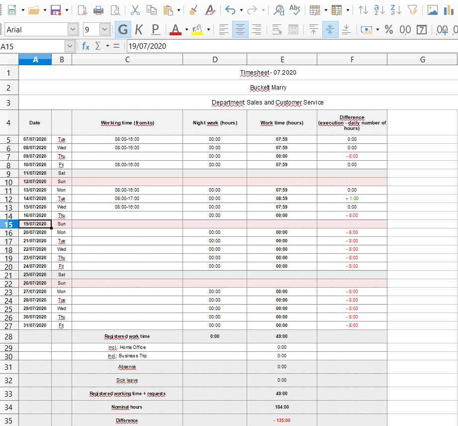 View of the Timesheet report in an Excel file.