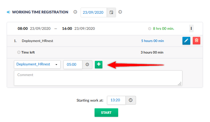 Time registration for selected projects.