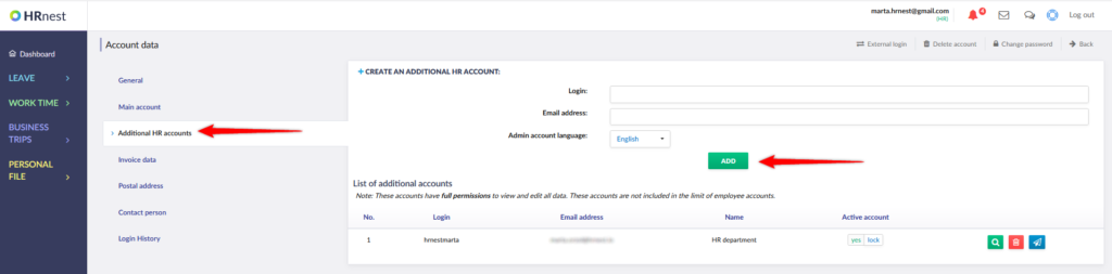 Selecting the tab for adding additional HR accounts.