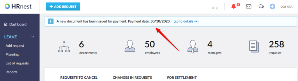 Invoice notification displayed on the home page.