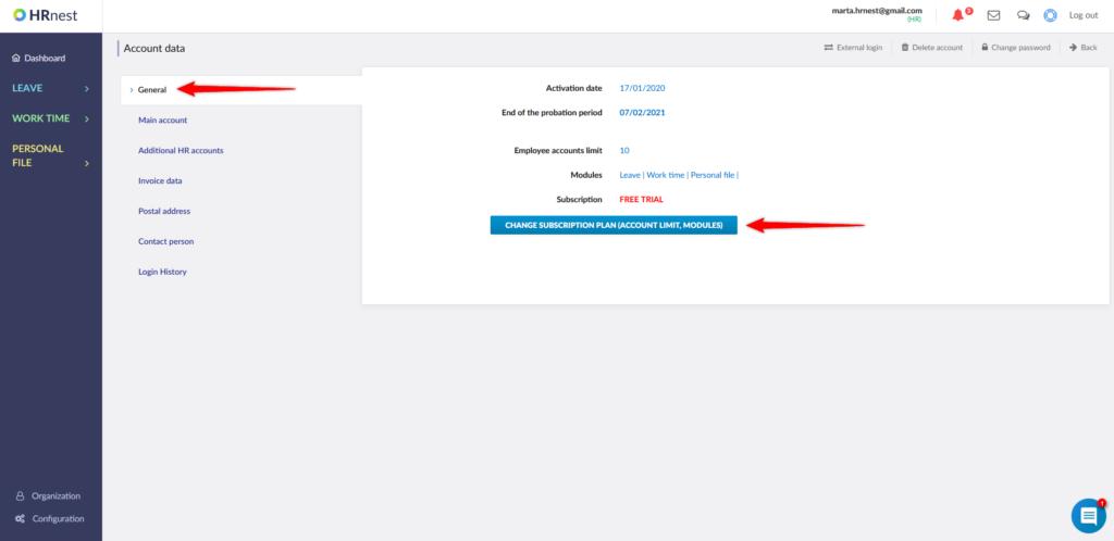 Account parameters verification.