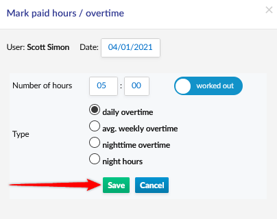 Entering the amount of overtime and selecting the type of overtime.