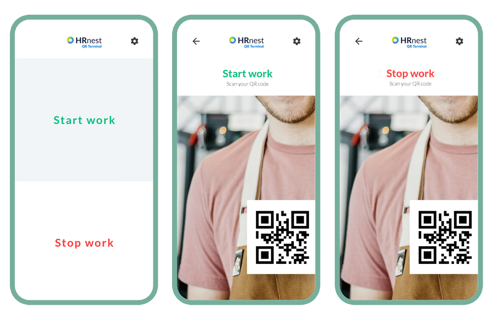 Three available operating modes of the HRnest QR Terminal application.