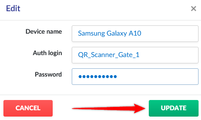 Adding the device name and defining the access data.