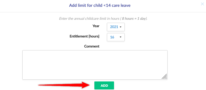 Completing the childcare form.