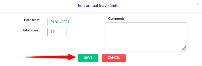 Editing the employee's vacation limit.