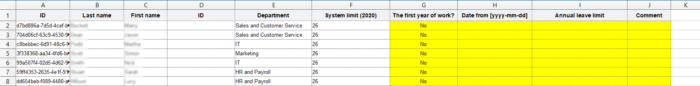 An excel file for adding multiple vacation limits in bulk.