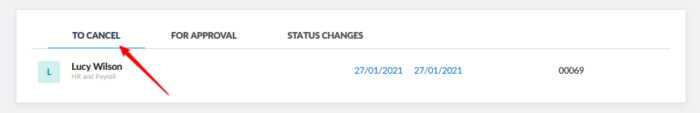Cancellation requests visible in the deputy manager's account.