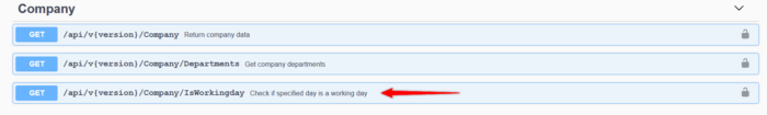 New API method - possibility to download non-working days.