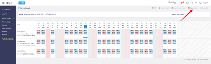 Exporting schedules to an iCal file in the HRnest system.