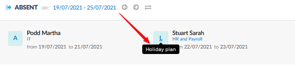 Plan view in the list of absentees.