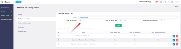 Employee requests with the option to add a subject.